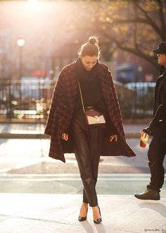 I am having a major Giorgia Tordini moment and apparently I'm not the only one (#GaranceDore). Here she is in NYC wearing a coat she designed herself (because she had to find a way to be even cooler than she already was ...her new brand is called Rêve). she's also rockin leather pants & Céline. For The Win (possibly of the day).