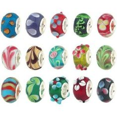 50pc Lot Silver Lampwork Murano Glass European Mix Beads - Compatible with Pandora, Chamilia, Troll, Biagi $11.99