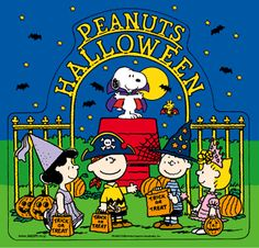 'Happy Halloween', Charlie Brown, Snoopy, Woodstock, Lucy, Linus, and Sally Brown.