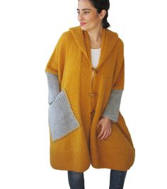 NEW! Plus Size Over Size Yellow Mohair Overcoat - Poncho - Pelerine with Hood and Gray Pocket