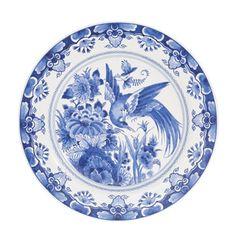 JP: Round Plate - Delft Blue, Bird of Paradise
