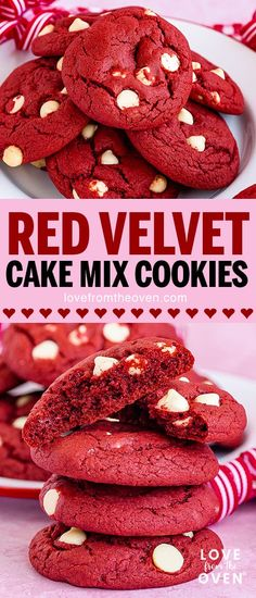 Red Velvet Cookies made easy by using cake mix! These red velvet cake mix cookies are dotted with white chocolate chipsa perfect treat for Valentines Day or any time of year. Flourless Chocolate Torte, Low Carb Chocolate, Sugar Free Chocolate, Chocolate Chip Cookies, White Chocolate, Chocolate Chips, Cake Mix Recipes, Baking Recipes, Dessert Recipes