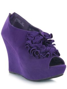 Purple ruffle open toe/peep toe wedges