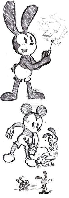 Mickey and Oswald Sketches (ft. Bunny Children)
