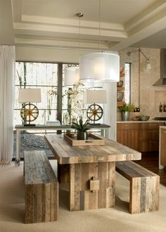 bench style kitchen tables wooden table benches pendant lights decorative plants drawers transitional room shelves of Wonderful Bench Style Kitchen Tables to Get Ideas From
