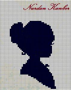 0 point de croix monochrome profil de fille - cross stitch portrait side girl