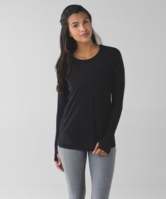 This breezy long sleeve helps shield you from ultraviolet rays so you don't have to worry about the sun on your run.