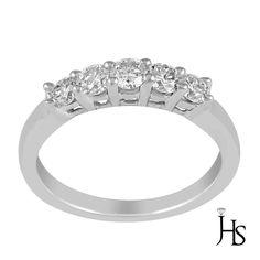Women's 14K White Gold 1.00 Cts 7 Round Diamond Wedding Band - Jewelry Hotspot #WomensFancyWeddingBandJHS #Wedding
