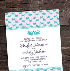 Weddings  Invitations & Paper  Invitations  invitations  preppy  boating  bridal shower  nautical  ocean  rehearsal dinner crab theme  bride groom  heart  maryland blue crab  rope  printable Nautical/Seaside/Beach Collection  Bridal by brittanylaurendesign