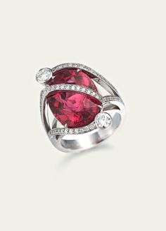 Rubellite and Diamond Ring by Tamsen Z
