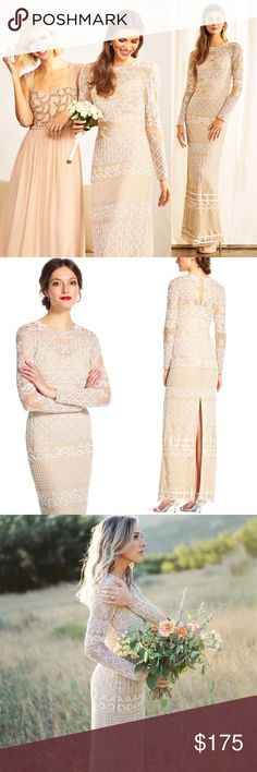 "Long Sleeve Bohemian Embroidered Dress Sheer ""Long Sleeve Bohemian Embroidered Dress with Sheer Details"". This gorgeous Adrianna Papell is perfect for prom season and wedding season! It originally retailed for $350 and is currently sold out online. It is almost new, as it's never been worn outside of my room! I just tried it on a couple of times. It's in great condition with all beading intact. The only flaw is an elastic button loop that has detached from one side, which I think should be…"