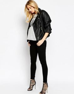 ASOS Maternity | ASOS Maternity Ridley Skinny Jean In Clean Black With Under The Bump Waistband at ASOS