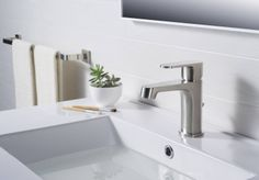 RIVUSS Brisbane FBS-200 - Lead-Free Solid Brass Single-lever Bathroom Faucet With Pull Out Waste - Brushed Nickel