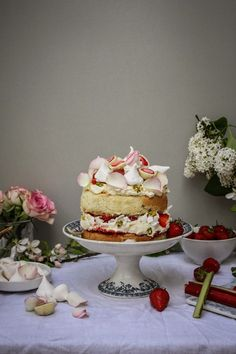 twiggstudios: strawberry rhubarb and rose eton mess cake and rhubarb apple and pistachio tart