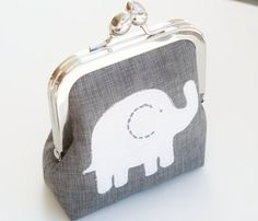 Elephant Coin Purse Makeup Bag Metal Clasp by BrooklynLoveDesigns, $30.00