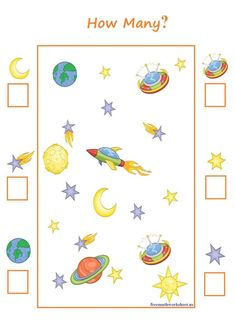Counting worksheet 1 to This worksheet is the printable pdf. Planets Preschool, Space Theme Preschool, Space Activities For Kids, Free Preschool, Preschool Printables, Math For Kids, Free Math Worksheets, Counting Worksheet, Montessori Activities