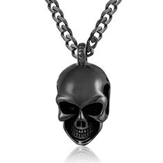 Trendsmax Skull Pendant Necklace 316L Stainless Steel Pendant Color Optional Curb Mens Chain 22 inch. Mens Fashion Skull Pendant Necklace.Come With a Trendsmax Bag. Material: 316L Stainless Steel. Condition: 100% Brand New. Black Gothic Skull, Smooth Durable Stainless Steel w Enamel,Curb Chain. Pendant Measurement:33mm*23mm,Bail:6mm*5mm;Necklace Measurement:Width:5mm,Length: 22 inch. Perfect Gift for Halloween, Father's Day, Charistmas.