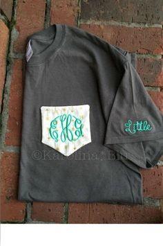 Custom Monogrammed Greek Pocket Tee. Frocket - Sorority- Choose from several colors and fabrics by PreppyMonograms2 on Etsy https://www.etsy.com/listing/455937678/custom-monogrammed-greek-pocket-tee