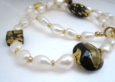 Venetian Murano Glass Necklace, Black with gold, High Quality Pearl Necklace, Luxury Murano. British, Italian. by SilverHares on Etsy www.myjewellerydesigner.co.uk