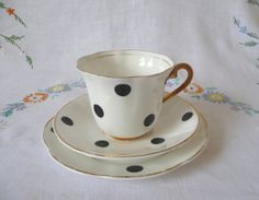 1950s/60s Vintage Polka Dot China Tea Cup by GaslightTreasures, £12.50