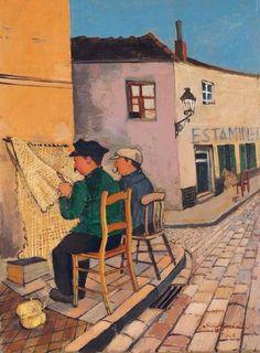Felix Nussbaum (1904-1944)  Netzflicker in Einer Straße in Ostende, 1928