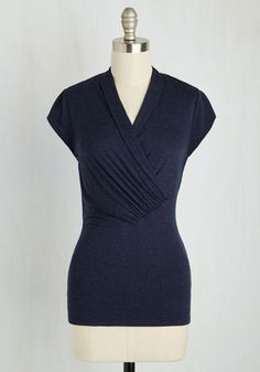Daily Decadence Top in Heathered Navy - Blue, Solid, Ruching, Work, Minimal, Cap Sleeves, Knit, Best, Exclusives, Variation, V Neck, Mid-length, Vintage Inspired