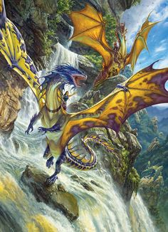 Waterfall Dragons 1000 piece fantasy jigsaw puzzle by Cobble Hill Puzzle Co. Mythological Creatures, Fantasy Creatures, Cool Mythical Creatures, Concept Art World, Creature Concept Art, Cool Dragons, Earth Design, Dragon Artwork, Illustration Art