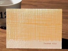 SET OF 8 Weaved Thank You Letterpress Card from chewingthecud