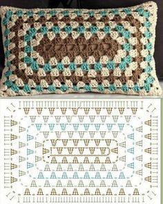 Crochet Granny Square Rectangle Yarns Ideas For 2019 Crochet Granny Square . Crochet Granny Square Rectangle Yarns Ideas For 2019 Crochet Granny Square Rectangle Yarns Crochet Cushion Cover, Crochet Pillow Pattern, Crochet Cushions, Granny Square Crochet Pattern, Crochet Blocks, Crochet Diagram, Crochet Stitches Patterns, Crochet Afghans, Crochet Chart