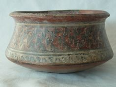 Ancient Pre-columbian Pre Inca Andean Peruvian Nazca Ica Redware Stoneware Ceramic Pottery Burnished Key & Weaving Pattern Slip Painted Vessel bowl.