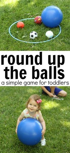 Round Up the Balls Game for Toddlers A super simple outdoor game for toddlers that teaches positional words (in. Games For Little Kids, Outdoor Activities For Toddlers, Infant Activities, Summer Activities, Learning Activities, Toddler Outdoor Games, Outdoor Preschool Activities, Indoor Games, Toddler Gross Motor Activities