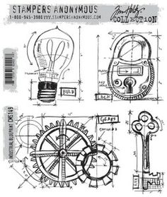 *Tim Holtz Cling Rubber Stamps 2013 INDUSTRIAL BLUEPRINT CMS149