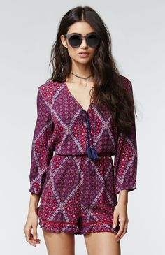 e9410d1cca59 A PacSun.com Online Exclusive! The 3 4 Sleeve Tie Romper by Kendall