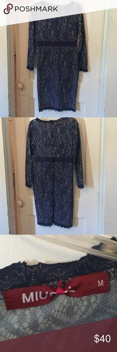 Blue lace dress Stunning, very flattery stretch lacy dress with a beautiful seen in satin waste excentuat with button detail on back. Long sleeves. Very comfortable. Miusol Dresses Midi