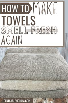 Do you have sour smelling towels with a musty, mildew scent? Use this easy trick to get your stinky towels smelling fresh again. Towels Smell, Household Tips, Spring Cleaning, Hacks, Fresh, Make It Yourself, Easy, Home Hacks, Diy Household Tips