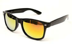 Vintage Wayfarer Retro Revo-lens Mirrored Sunglasses W132 (black-gold, mirrored) Wayfarers. $11.95