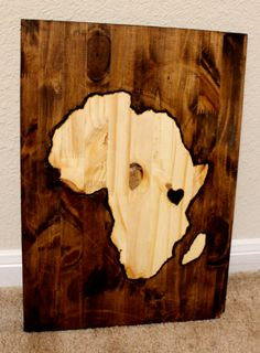 Wood Stained Africa Map by CraftyHandsFullHeart on Etsy, $35.00