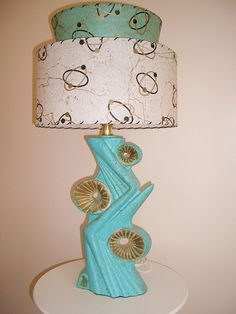 Vintage lamp with reproduction shade