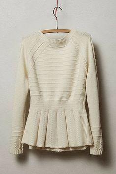 White sweater for fall fashion.  love peplum shirts