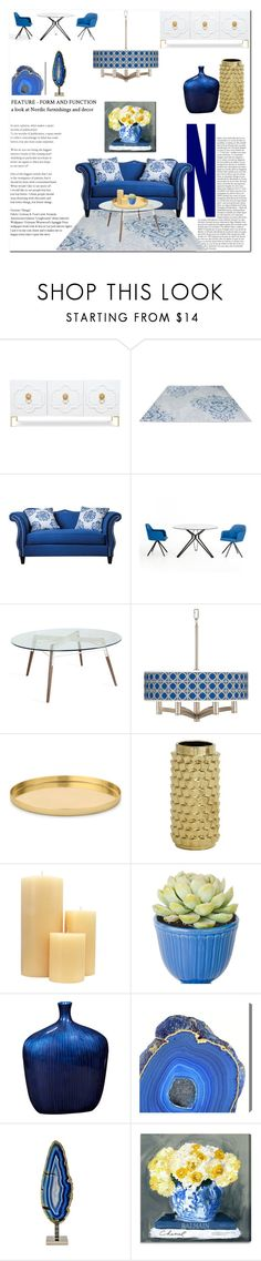 Blue With Gold By Rachelbarkho Liked On Polyvore Featuring Interior Interiors