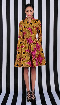 ♥NEW The Gugu Wrap Coat Dress by DemestiksNewYork ■ African Prints, African women dresses, African fashion, African clothing, Nigerian style, Ghanaian fashion