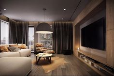Design salotto moderno perfetto come zona relax e angolo lettura con poltrona in pelle accanto alla finesta - Appartamento moderno
