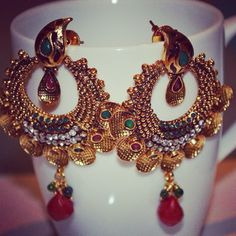 Buy these ethnic earrings @ 25€ only Contact  Reena Vohra https://www.facebook.com/pages/Jewellery-the-16-Adornments/1432610660330539 Kik:-The16Adornments