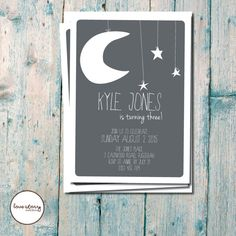 Moon Stars // First Birthday // Night Party Invitation // Astronomy Invitation // DIY Printable // Premium Printing Available