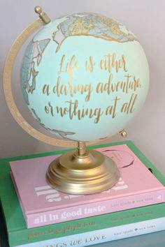 The Trendy Sparrow: Record Player Nook featuring a hand painted globe from…