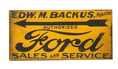 Rare Original Sand-Painted Ford Sales & Service Wooden Sign