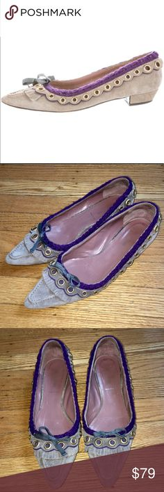 Mui Mui Grey and Purple Suede Flats size 38 Pre Owned with General Wear e.g. Some Scuffing Please Refer To Pictures and Ask Any Questions You May Have. Size 38 Made in Italy. Grey Pointed Sued Flats Accented with Purple and Matte Bronze Hardware. Thank You! 😍🙏🌸 Miu Miu Shoes Flats & Loafers