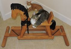Vintage Wood Rocking Horse Glider, Chelsea And Maddie Kitties Not For Sale Free…