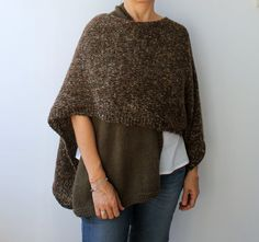 One Sleeve Two Color Chunky Knit  Green Brown Hand by warmandsoft, $72.00
