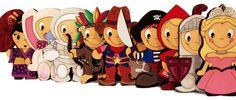 Colección Mini Suris. Divertidos personajes cortados y grabados en madera y pintados a mano.